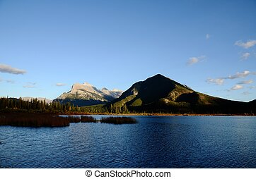 Mount Rundle and Vermilion Lakes in autumn,Canadian...