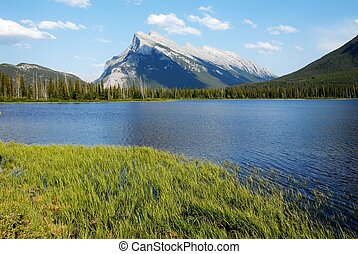 Mount Rundle and Vermilion Lakes in spring,Canadian...
