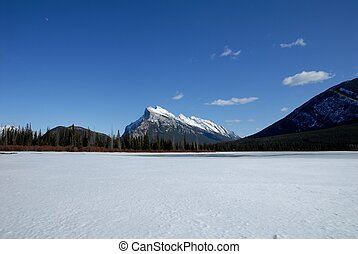 Mount Rundle and Vermilion Lakes in winter, Canadian Rockies, Canada