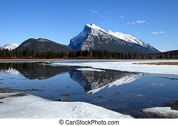 Mount Rundle and Vermilion Lakes in winter,Canadian...