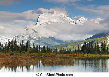 Mount Rundle and Vermillion Lake, Canada - Mount Rundle and...