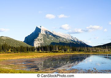 Mount Rundle and Vermillion Lake in Autumn Evening, Canadian Rockies
