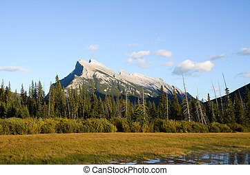 Mount Rundle and Vermillion Lake in Autumn Evening, Canadian...