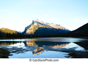 Mount Rundle and Vermillion Lake Shined by the Setting Sun in Auntum, Canadian Rockies