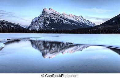 Mount Rundle and Vermillion Lake near Banff Alberta Canada