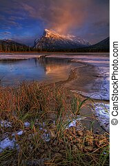 Mount Rundle at sunset - Mount Rundle in Banff at sunset...