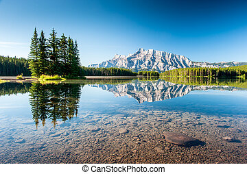 Mount Rundle from Cascade Ponds. - Panorama of Mount Rundle...