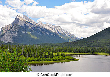 Mount Rundle in Alberta Canada - Scenic Mount Rundle in...