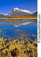Mount Rundle Reflection in Vermilion Lake, Banff, Canadian...