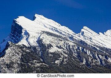 Mount Rundle - Peaks of Mount Rundle near Banff, Alberta,...