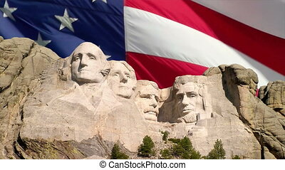 Mount Rushmore and American Flag - The American flag waving...