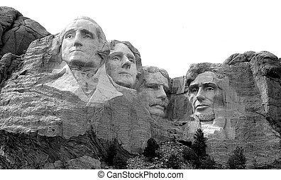 Mount Rushmore B&W - A black and white image of Mount...