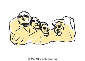 Mount Rushmore hand drawn icon