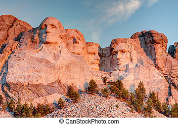 Mount Rushmore National Memorial on a clear blue sunny...