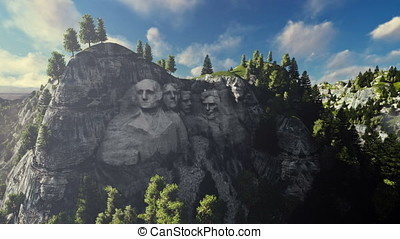 Mount Rushmore on a sunny day, timelapse clouds