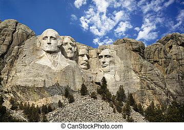 Presidential sculpture at Mount Rushmore National Monument, South Dakota.