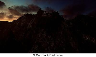 Mount Rushmore timelapse sunrise, camera fly