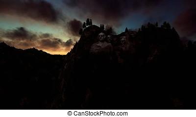 Mount Rushmore, timelapse sunrise, camera fly