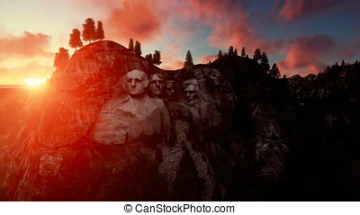 Mount Rushmore, timelapse sunset, camera fly