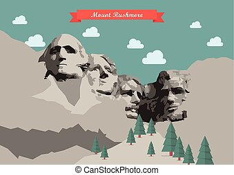Mount Rushmore Vector illustration. National Memorial, South...