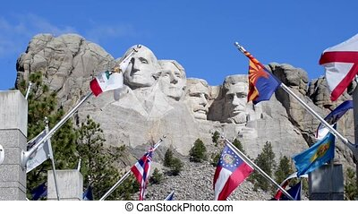 Mount Rushmore Wide Angle Slow zoom - Grand View Terrace,...