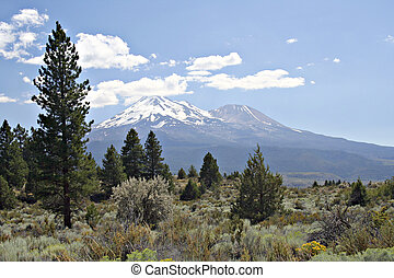 Mount Shasta California looking south from the hiway