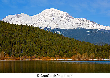 Mount Shasta reflection in the lake