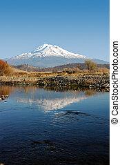 Mount Shasta Reflection - Mount Shasta Reflected in Creek ...