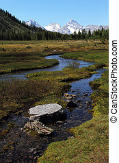 Mount Sir Douglas and meadows in the Kananaskis, Alberta,...