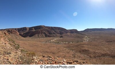 Northern Territory, Central Australia Outback. Aerial view from viewpoint of Ormiston Pound walk, a 3 hr circular walk in West Mac Donnell Ranges National Park. Mount Sonder on background.