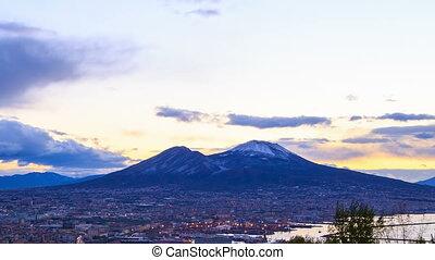 Mount Vesuvius. Dawn over Naples. Time Lapse