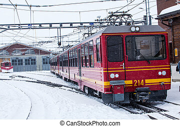 mountai, jungfrau, alps., suisse, station, switzerland., train