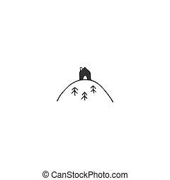 mountain., 房子, 頂部, theme., 手, 矢量, 圖象, 畫, 財產, 租金