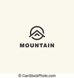 mountain., 矢量, 標識語, 樣板