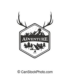 Mountain Adventure, Camping Badge Vector Logo