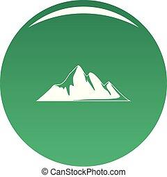 Mountain adventure icon vector green