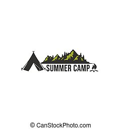 Mountain Adventure, Summer Camp Badge Vector Logo