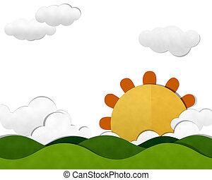 Mountain and Cloud sky with Sun set
