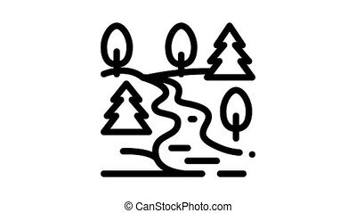 mountain and forest terrain Icon Animation. black mountain and forest terrain animated icon on white background