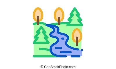mountain and forest terrain Icon Animation. color mountain and forest terrain animated icon on white background