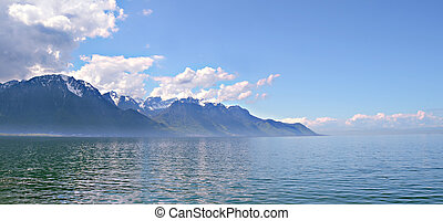 Mountain and Geneva lake, Switzerland