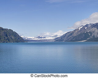 Mountain and Glaciers in Alaska - View of Glacier Bay in...