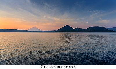 Mountain and Lake at Twilight in Hokkaido, Japan