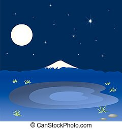 Mountain and lake in the night sky, vector illustration