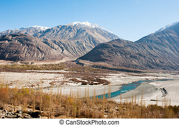 mountain and little desert view in Leh, India