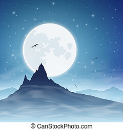 Mountain and Moon - A Mountain with Moon and Night Sky