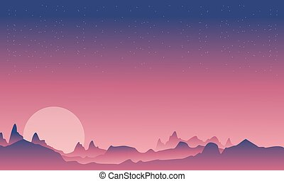 Mountain and moon beauty landscape