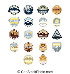 Mountain and Outdoor Adventure Vintage Emblems, Vector Set