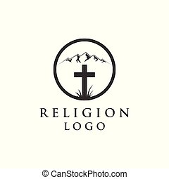 mountain and religion logo