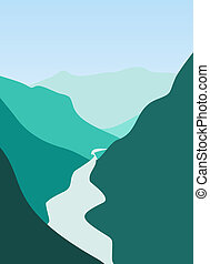 Mountain and river - Illustration of mountain and river